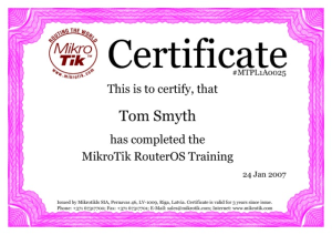 MikroTik Certified Network Associate Certificate